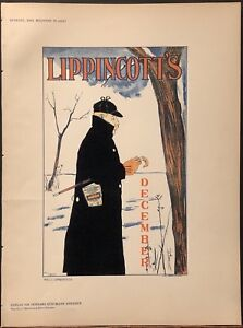 Original stone lithographic Poster by Will Carqueville - Lippincott's December