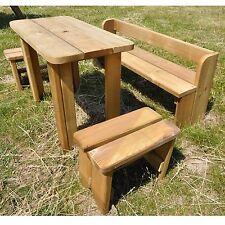 Ensemble de sièges pour enfants meubles en bois massif nature avec table, 2