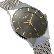 Wrist Watch JA-577MC JULIUS Men Black Ultra-Thin Dial Silver from Japan New