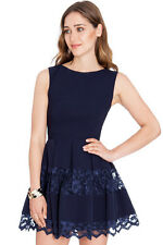 New Navy Fit & Flare Lace Inset Party Skater Mini Dress Size 8 10 12 14 RRP £50