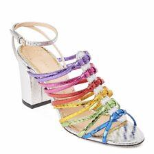 Charlotte Olympia Metallic Rainbow Silver Strappy Heels Size 7