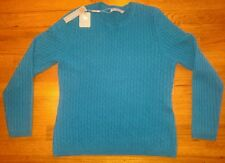 Cashmere turquoise sweater size L or XL; crewneck long sleeve cable knit