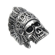 316L Stainless Steel Men's Large Indian Apache Chief Skull Biker Ring Size 8-12