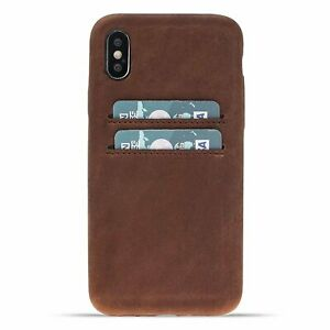 Snap-on Full Cover Leather Case with Credit Card Slots for Apple iPhone X / XS