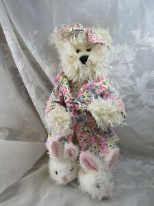 "KELSEY PROGRESSIVE WHITE 12"" PLUSH TEDDY BEAR WITH BUNNY SLIPPERS & BATH ROBE"