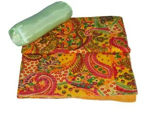 Indien Reversible Paisley Kantha Quilt Yellow Double Blanket Throw Art