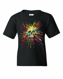 Paint Splatter Skull Youth T-Shirt Multicolor Art Crazy Melting Drip Kids Tee