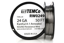 TEMCo Kanthal A1 wire 24 Gauge 50 Ft Resistance AWG A-1 ga
