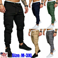 Mens Slim Fit Urban Straight Leg Trousers Sport Casual Pencil Jogger Cargo Pants