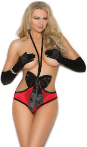 Stretch Satin Open Bust Teddy Cupless Bow Ruching Lingerie Present Gift 7208