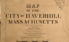 "Huge ""MAP OF THE CITY OF HAVERHILL, MASSACHUSETTS"" by Miller & Lord -  c1875"