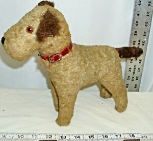 ANTIQUE WIRE FOX TERRIER DOG MOHAIR JONITED DOLL GLASS EYES 1930s STEIFF