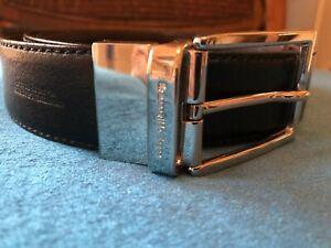 ERMENEGILDO ZEGNA Men's Reversible Black / Brwn Leather Belt ($295 Ret.) - LARGE