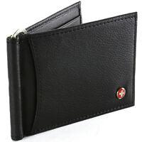 Alpine Swiss RFID Blocking Men's Wallet Leather Front Pocket Spring Money Clip