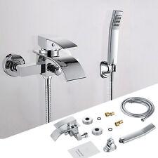 Modern Wall Mount Bathroom Bath-tub Mixer Tap Waterfall Handshower Faucet Chrome