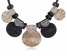Trendy Chunky Jewellery~ Black and Gold Statement Faux Leather Necklace Chain