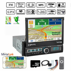 7'' 1DIN Stereo Car Radio GPS Navi FM AUX SD USB Bluetooth Reversing Mirror Link