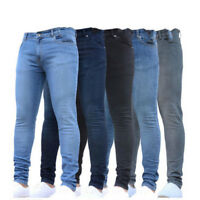 New Casual Mens Jeans Casual Pencil Jeans Slim Straight Mid Waist Long Trousers