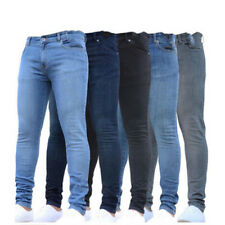 New Fashion Mens Jeans Casual Pencil Jeans Slim Straight Mid Waist Long Trousers