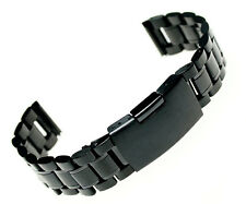 24mm Black Stainless Steel Wristwatch Bracelet Watch Band Straight End Strap New