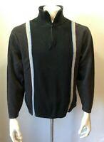 Nautica Gray Black Long Sleeve Mock 1/4 Zip Men's Pullover Sweatshirt Size L