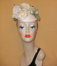 White Fascinator Hat w/ Big White Flowers by John Koch Montrose Studio
