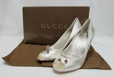 NEW Gucci Silver Heel Leather Bow Bamboo Beads Shoes US 10.5 EU 40.5 Pumps