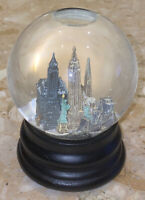 Saks Fifth Ave Musical Snow Globe New York City Twin Towers Revolving Subway 6""
