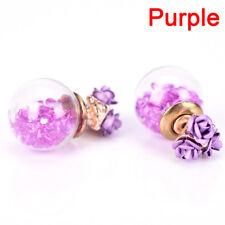 1Pair Women Double Sides Rose Flower Crystal Ball Ear Stud Earrings Jewelry YA