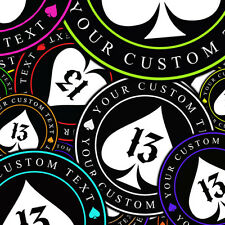 Custom Lucky 13 Number 13 Your Text Here Vinyl Decal Sticker Spade 13 Set