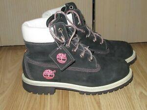Womens Girls TIMBERLAND 99900 Sz UK 3 / US 3.5M Black Nubuck Leather Boots GREAT