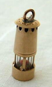VINTAGE 9ct GOLD MINERS DAVY LAMP CHARM / PENDANT ~ ENGLISH HALLMARKS ~ 2.45gm