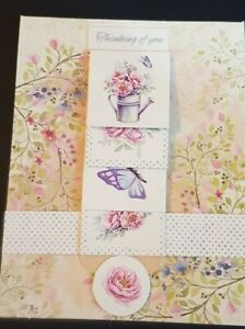 Happy Birthday female Card Thinking of You  Flowers Butterfly's Greeting Card