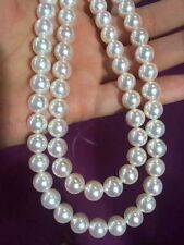 """Double Strands 8.5-9mm Japanese Akoya White Pearl Necklace 14K Solid Y.G 17"""" 18"""""""