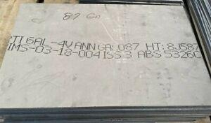 "Titanium Plate 6AL4V 18"" x 12"" x .087"""