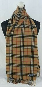 BURBERRY SCARF 100% LAMBSWOOL FOR MEN AND WOMEN MADE IN ENGLAND BEIGE M