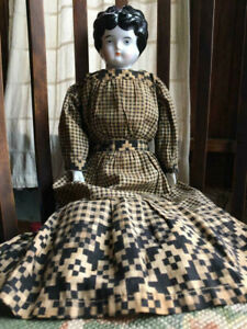 CHINA HEAD DOLL Hertwig German #2 Antique 1800's to 1900's Black hair Low Brow