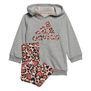 adidas Baby Girls Hooded Dress/Leggings Set - Grey Heather/Pink