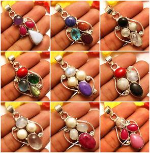 Beautiful Pendants Moonstone, Amethyst, Ruby, Pearl Gemstones 925 Silver Overlay