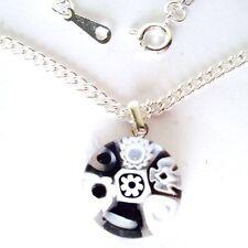 Black & White Glass Flower Pendant Nacklace. Silver Chain with Murano Millefiori