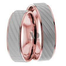 10K White & Rose Gold Wedding Ring Set 6mm His & Her Matching Wedding Band Set