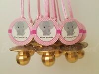 Elephant Pacifier Necklaces Baby Shower Game Favor 12 PINK GOLD Its a Girl Decor