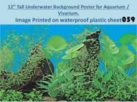 """12"""" Tall Underwater Background on Plastic Poster for Aquarium / Vivarium 059"""