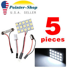 5 X White LED 5050 15SMD Panel + Festoon T10 BA9S Adapter Interior Dome Light