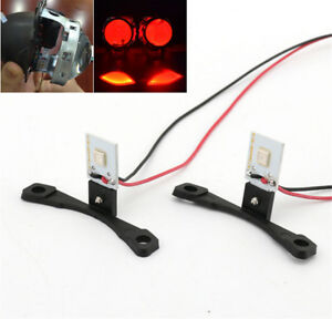 Red LED Evil Eyes Projector Lens Headlights Retrofit Car Lighting Accessories 2x