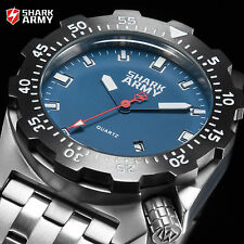SHARK ARMY Marine Crops Men's Blue Face Dial Stainless Steel Fashion Sport Watch