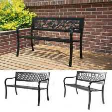 More details for birchtree outdoor 3 seater garden bench seat chair slat steel park patio black