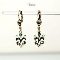 Earrings Sleeper Golden Chandelier Lacework Mini Pearl Green Fine YW5
