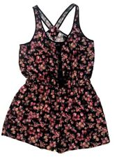 Wet Seal Junior Women Large L  Short Romper Dress Floral Burgundy Elastic Waist