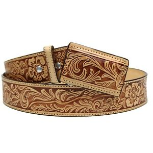 100% Leather Cowboy Cowgirl  Belt Hand Tooled Western Style Belt Cinto Vaquero